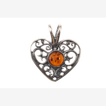"-Amber-silver pendant ""Heart""-21"