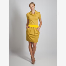 -Mustard stretch dress with pockets and stand-up collar viscose maren-2