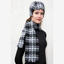 -black and white checked fringed scarf SOLO_220-21