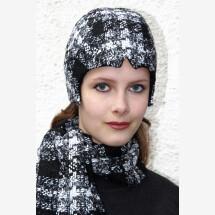 -black and white checked corner cap KARA_220-23