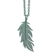 -Long chain with feather pendant stainless steel-21