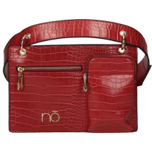 -Small fanny pack with red crocodile made of eco leather-21