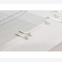 -Small stud earrings with stone 925 sterling silver-21