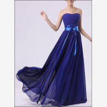 -Chiffon evening dress with corsage and sweetheart neckline-23