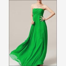 -Green chiffon Empire evening dress-23