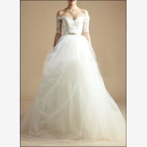 -Modern wedding dress with 3/4 lace sleeves-23