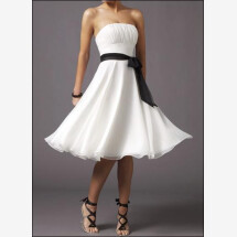 -White cocktail dress with ruffle and bow-21