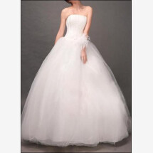 -Princess wedding dress made of tulle with floral arrangement-21