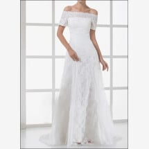 -Lace wedding gown with off the shoulder and sleeves-21