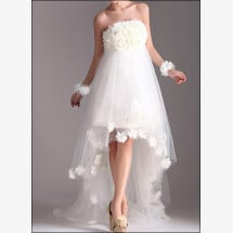 -Wedding dress made of tulle with flowers and train-23