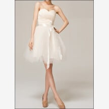 -Knee-length tulle wedding dress with corsage and loop-21