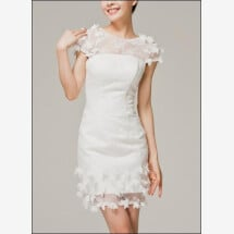 -Short wedding dress with draping and flower-26