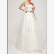 -A-line wedding dress with corsage and lace-22