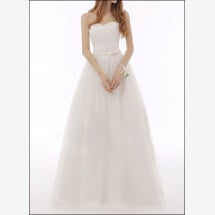 -Simple tulle wedding dress a-line with Ribbon-22