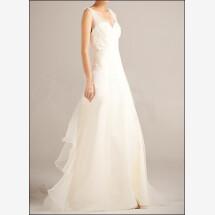 -Wedding dress organza with v-neckline and straps-22