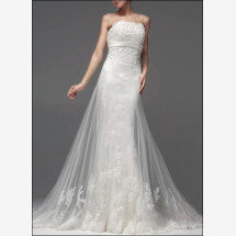 -Elegant Empire bridal gown made of tulle train-25