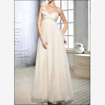 -Empire chiffon bridal dress with straps and flowers-23
