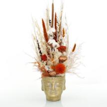 "-Dried flowers arrangement amber-brown ""Buddha head"" gold-21"