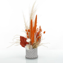 """-Dried flowers arrangement """"Amberliebe"""" in a gray cement planter-21"""