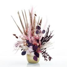 """-Dried flower arrangement """"Roségoldglanz"""" M in a gold metal pot-21"""