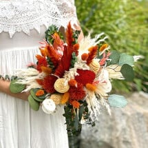-Durable bridal bouquet of dried flowers in stylish amber with eucalyptus-21