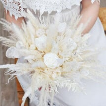 "-Durable bridal bouquet ""white elegance"" made of dried flowers and white infinity roses-2"