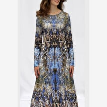 -blue jersey dress with own fabric print LYRELLE_71-2
