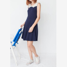 -Maira yoke dress in navy blue in organic cotton-21