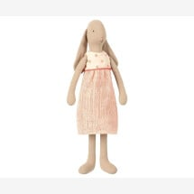 -Maileg rabbit girl in size 3 in a dress cream / apricot dotted-2