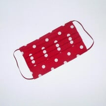 -Mouth-nose mask red with white dots-2