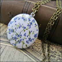 -Gorgeous flower medallion beautifully enamelled with light blue small flowers-21