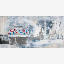 "-Acrylgemälde ""Containerschiff beige""-21"
