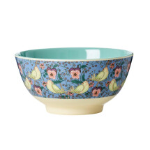 -Rice Melamine Bowl Large Bird and Pansy Print-20