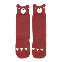-Wine red bear socks-21