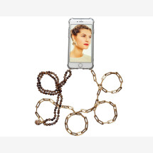 -Mobile phone chain with gold link chain and brown mineral stone chain-21