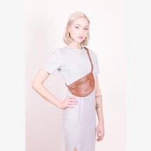 -Leather fanny pack Cognac MOON BUM BAG-2