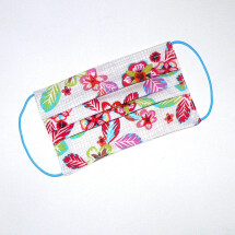 -Mouth-nose mask flower and grid pattern white-pink-21