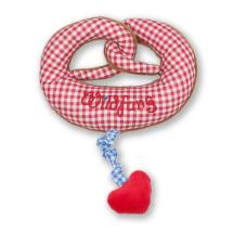 -Plüsch Brezel-Spieluhr rot/weiß kariert mit Herz-21