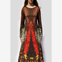 -red-brown-colorful jersey dress with own fabric print NADEYA_68-20