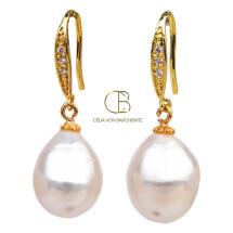 -Ohrhänger mit ovaler Perle-21
