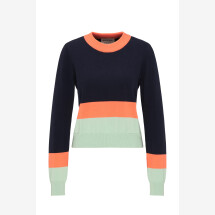 -Striped knit sweater in Navy / Coral / Mint-21