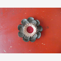 -Flower brooch made of upcycling leather red-pink-light jeans-21