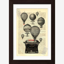 -Balloons and Typewriter on Vintage French English Dictionary Page-21
