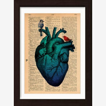 -Blue Heart and Birds Print on Antique Encyclopaedia Page-21