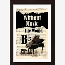 -Without Music Life Would Be Flat Piano print on vintage sheet music page-21
