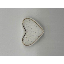 -Porcelain plate heart with dots gold / pink-21