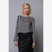 "-Ladies blouse ""Scarlett"" black / white striped-21"