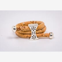 -Ring made of cork with a disc with flowers Handmade New-21