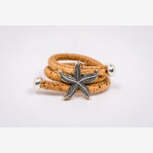 -Ring made of cork with a starfish / maritime-21