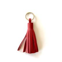 -Quaste Schlüsselanhänger oder Taschenanhänger aus upcycling Leder rot-21